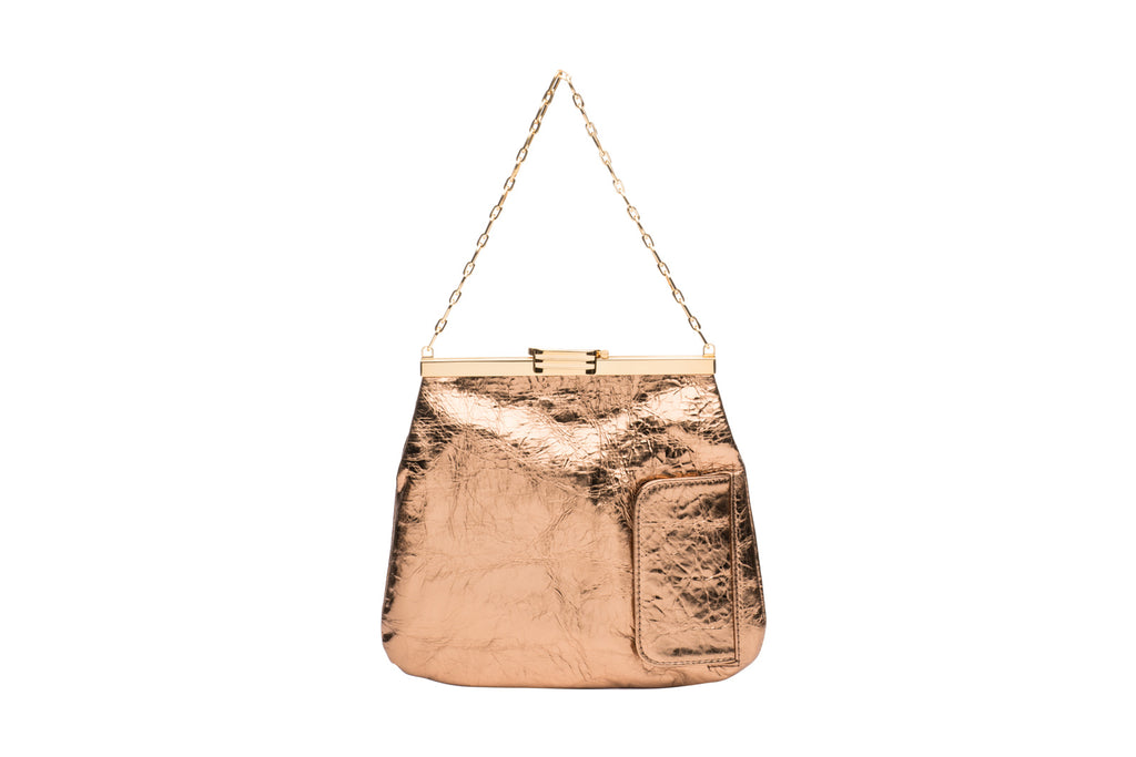 4 AM Bag in Blush Bronze Metallic Leather with 24k Gold Dipped Hardware