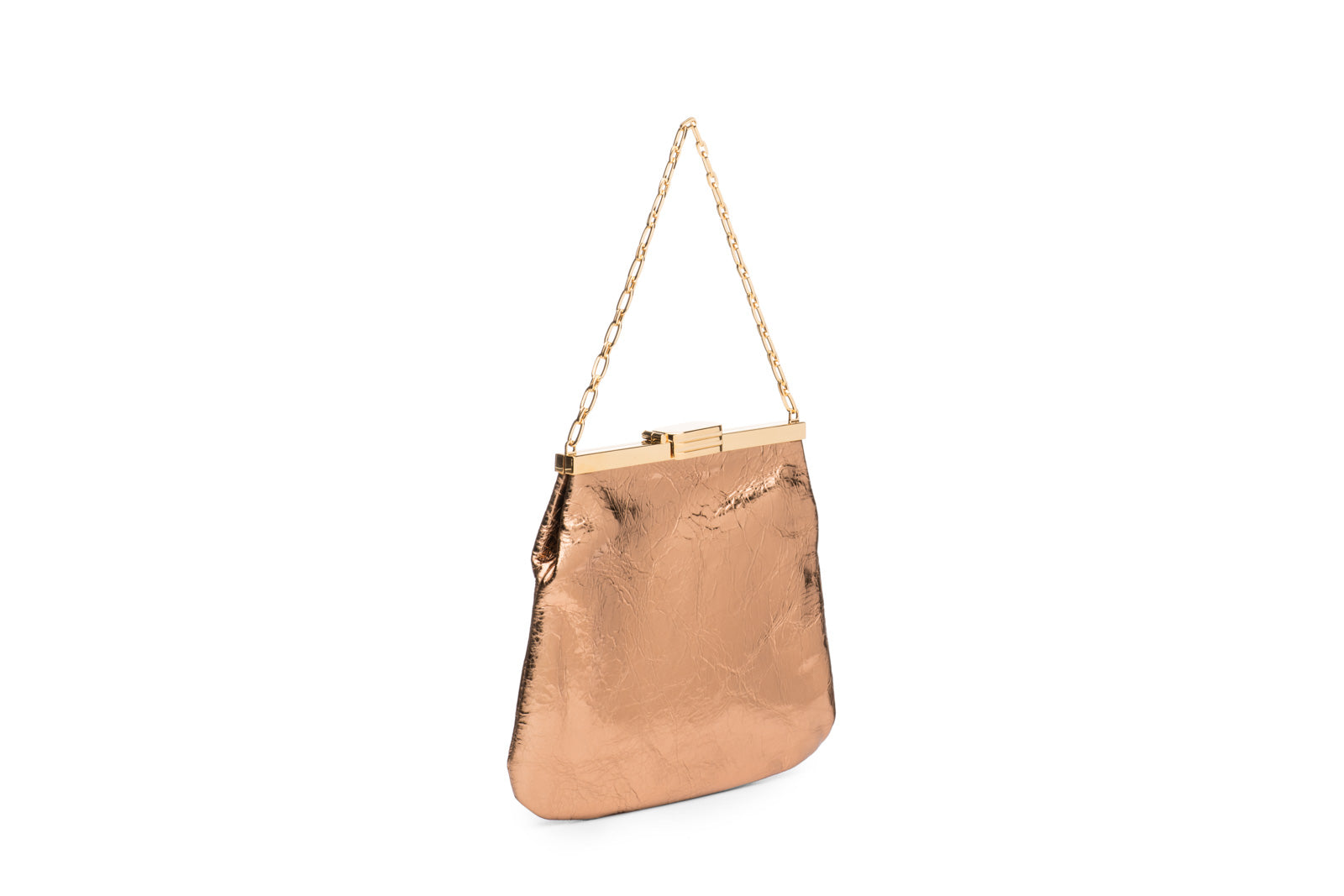 4 AM Bag in Blush Bronze Metallic Leather and 24k Gold Dipped Hardware