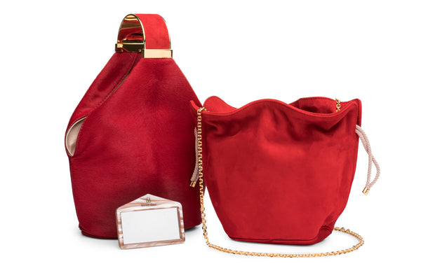 Kit Bracelet Bag in Red Calf Hair