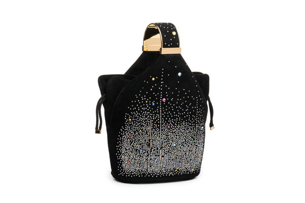 Kit Bracelet Bag in Multicolor Crystal Studded Black Suede