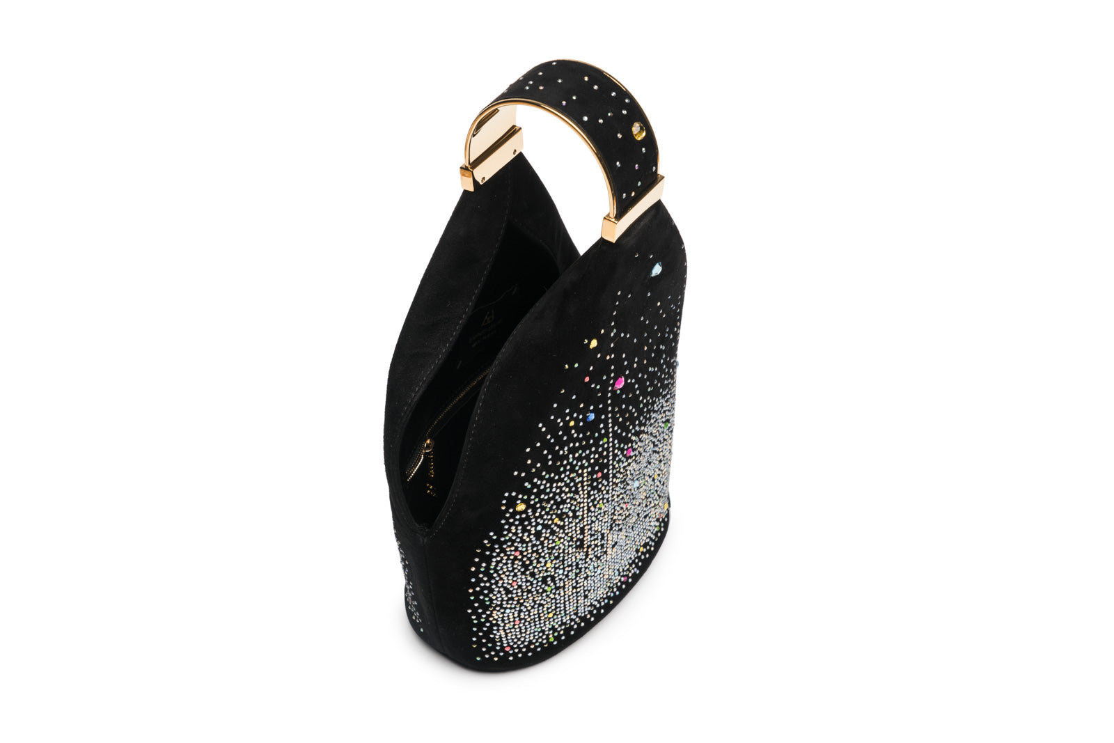 Kit Bracelet Bag in Multicolor Crystal Studded Black Suede with 24K Gold Dipped Hardware