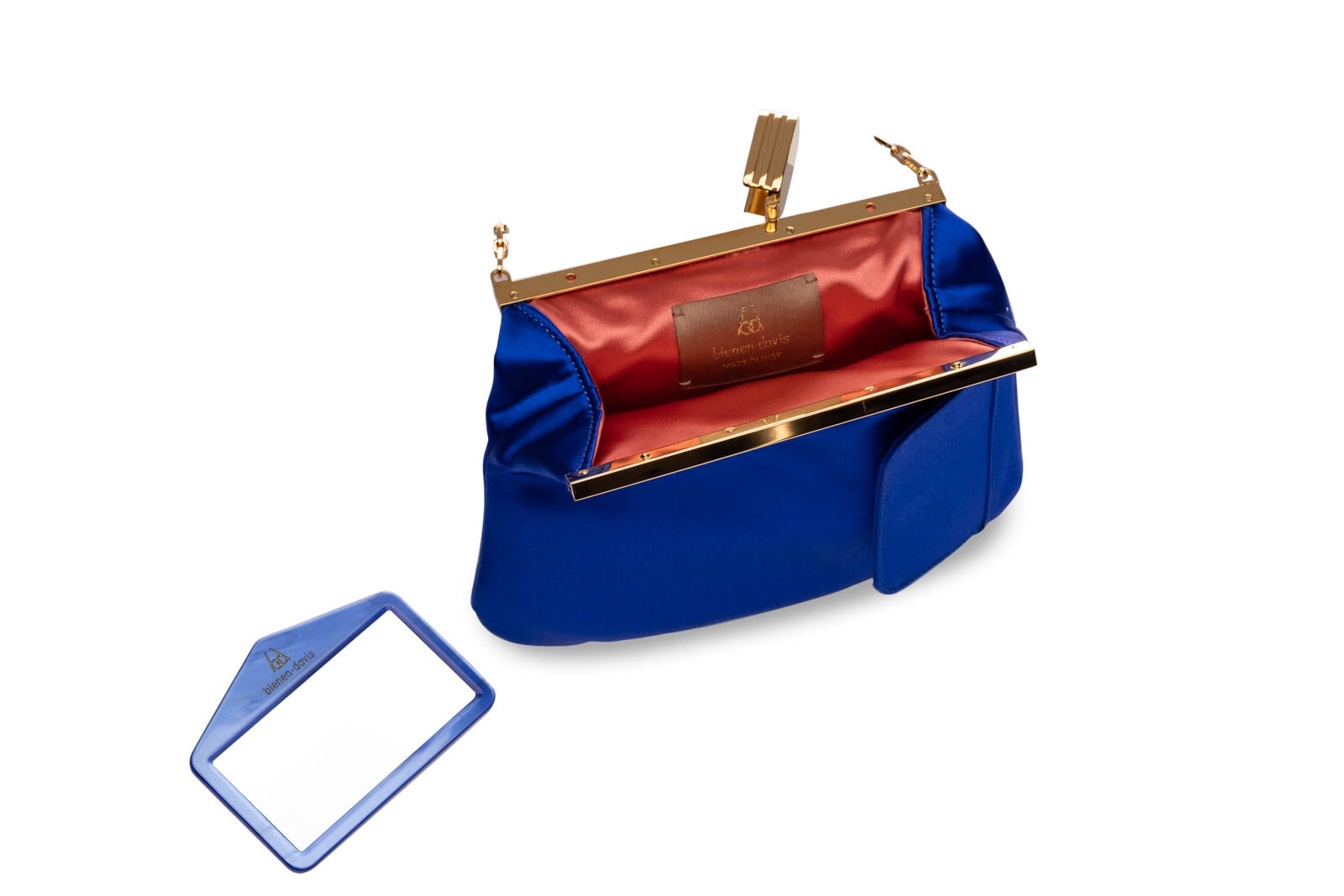 4 AM Bag in Cobalt Silk Satin with 24k Gold Dipped Hardware