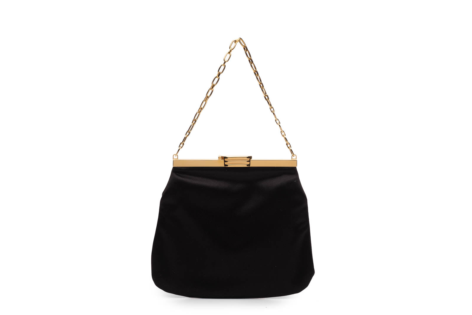 4 AM Bag in Black Silk Satin with 24k Gold Dipped Hardware