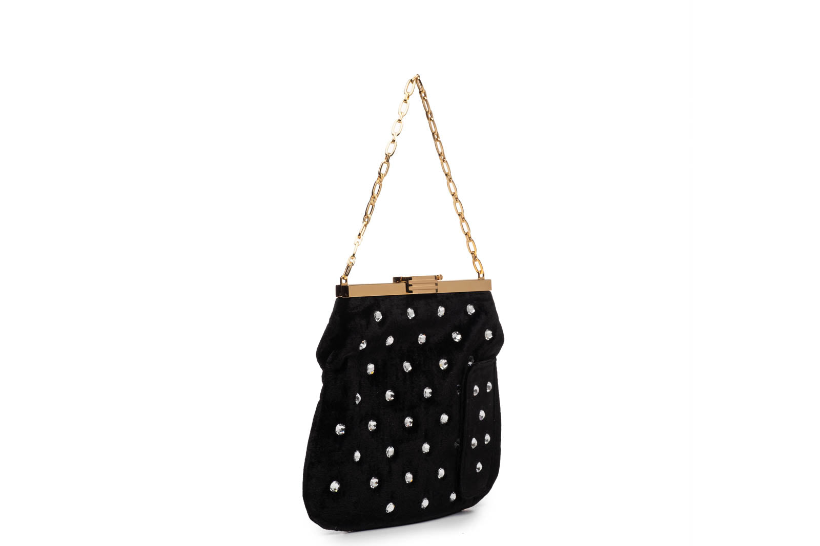 4 AM Bag in Crystal Studded Black Velvet with 24k Gold Dipped Hardware