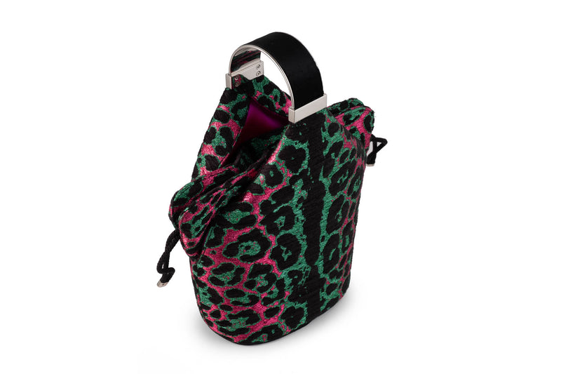 Kit Bracelet Bag in Pink and Green Leopard Metallic Lurex Chenille