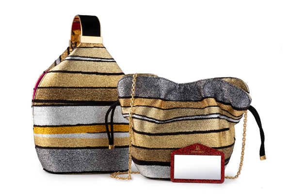 Kit Bracelet Bag in Halcyon Gold Multi Stripe Metallic Lurex Chenille