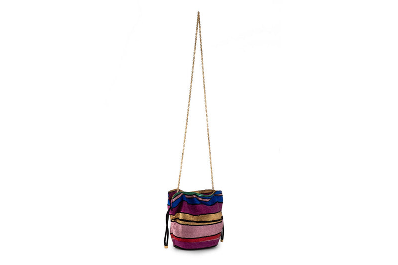 Kit Bracelet Bag in Halcyon Rainbow Multi Stripe Metallic Lurex Chenille