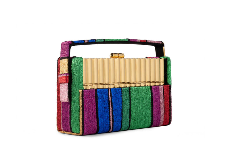 Gold Tubular Xenon Minaudière with Halcyon Rainbow Multi Stripe Metallic Lurex Chenille Case