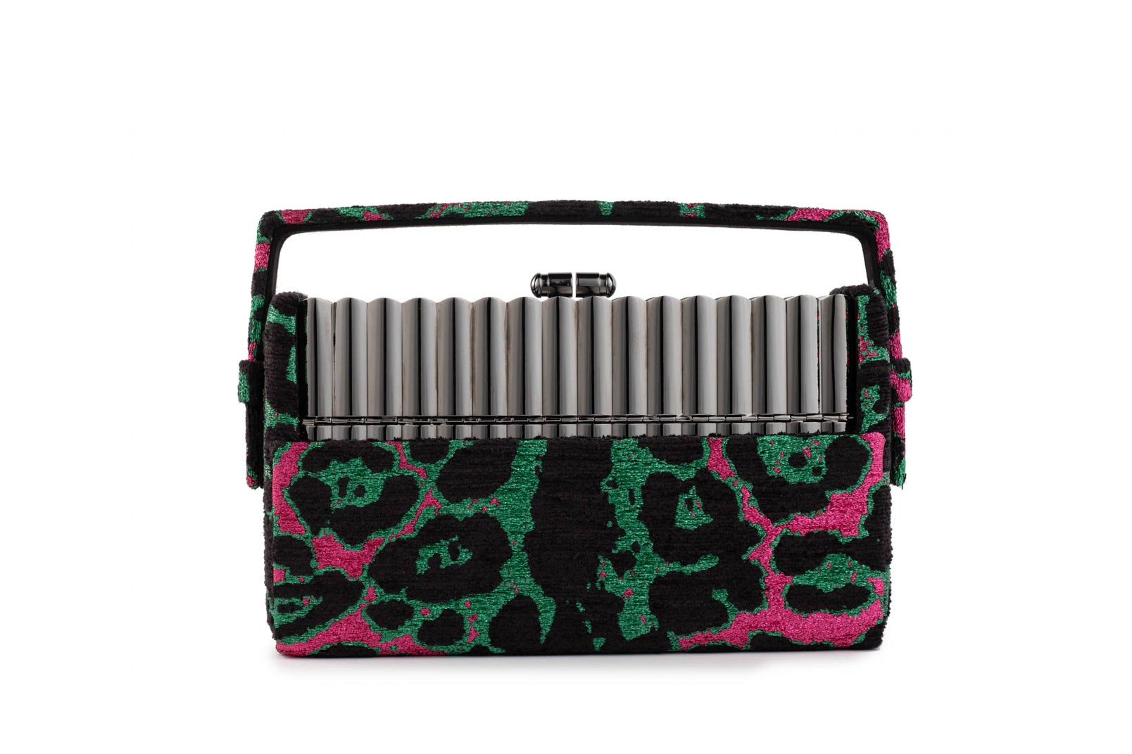 Gunmetal Tubular Xenon Minaudière with Pink and Green Leopard Metallic Lurex Chenille Case