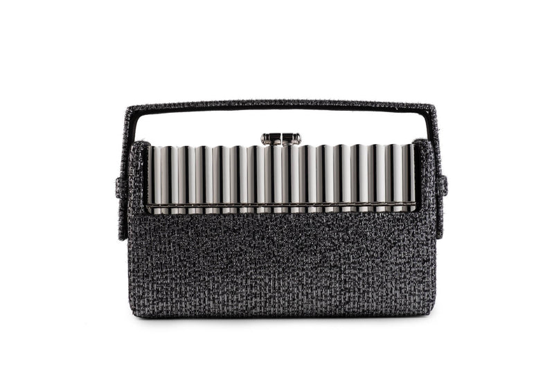 Xenon Minaudière in Silver and Black Metallic Lurex Tweed