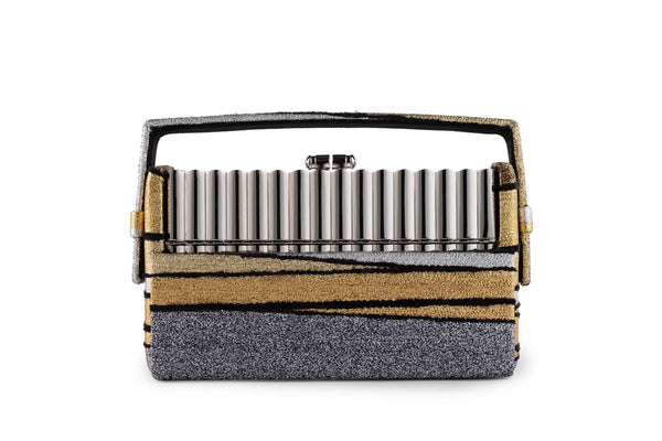 Silver Tubular Xenon Minaudière with Halcyon Gold Multi Stripe Metallic Lurex Chenille Case
