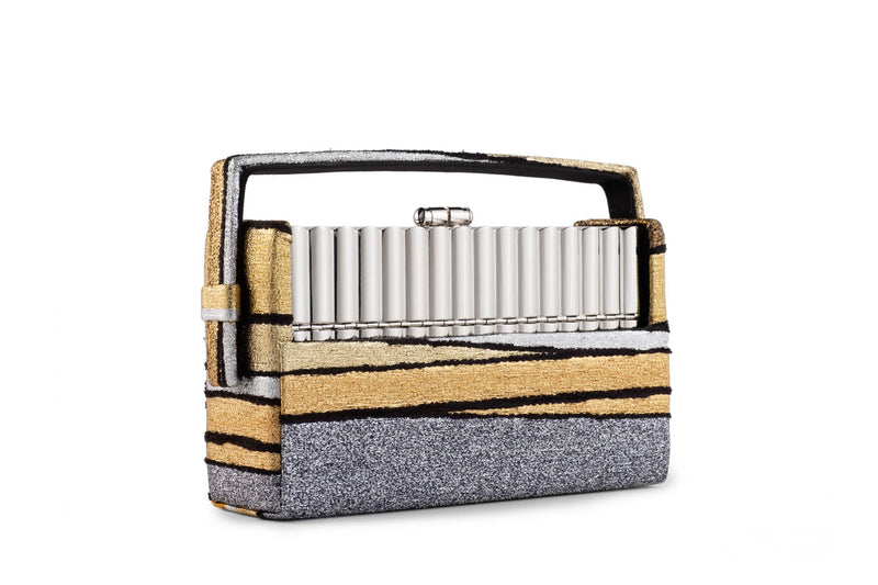 Xenon Minaudière in Halcyon Gold Multi Stripe Metallic Lurex Chenille