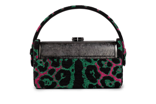 Régine Minaudière in Pink and Green Leopard Metallic Lurex Chenille