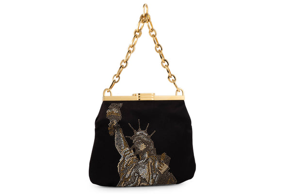 5 AM Bag in Statue of Liberty Crystals and Black Satin