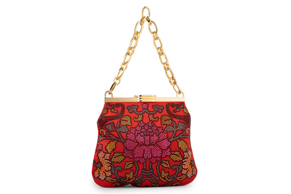 5 AM Bag in Floral Crystals and Red Satin