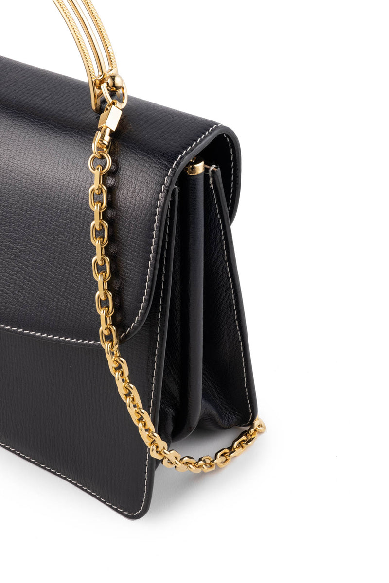 Charlie Top Handle Bag in Navy Palmellato