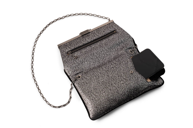 PM Clutch in Silver and Black Metallic Lurex Tweed