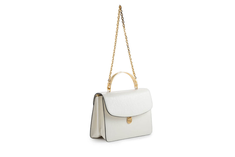 Charlie Top Handle Bag in White Leather