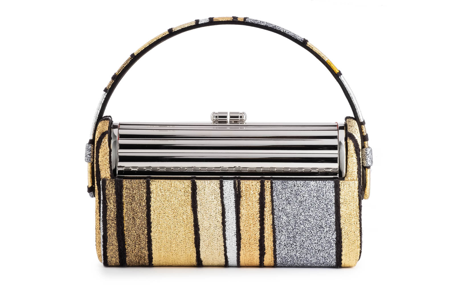 Silver Tubular Régine Minaudière with Halcyon Gold Multi Stripe Metallic Lurex Chenille Case