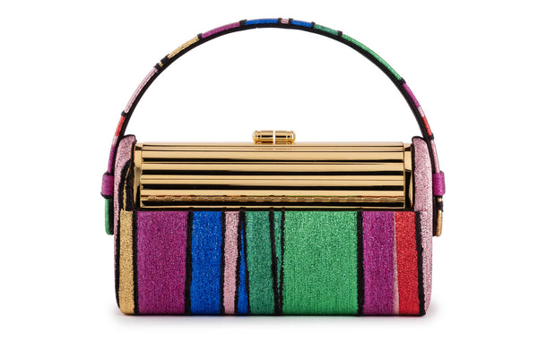 Tubular Régine Minaudière in Halcyon Rainbow Multi Stripe Metallic Lurex Chenille