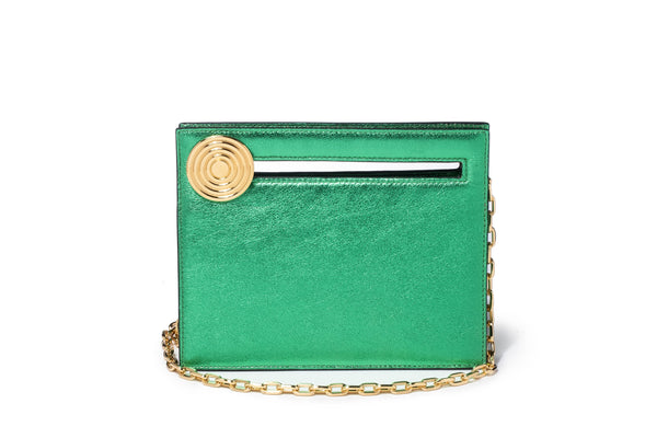 Mini Max in Metallic Green Leather