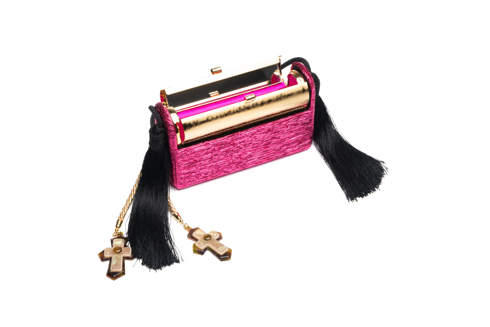 Régine Minaudière with Silk Tassels in Fluorescent Pink Pleated Lurex with 24K Gold Dipped Hardware