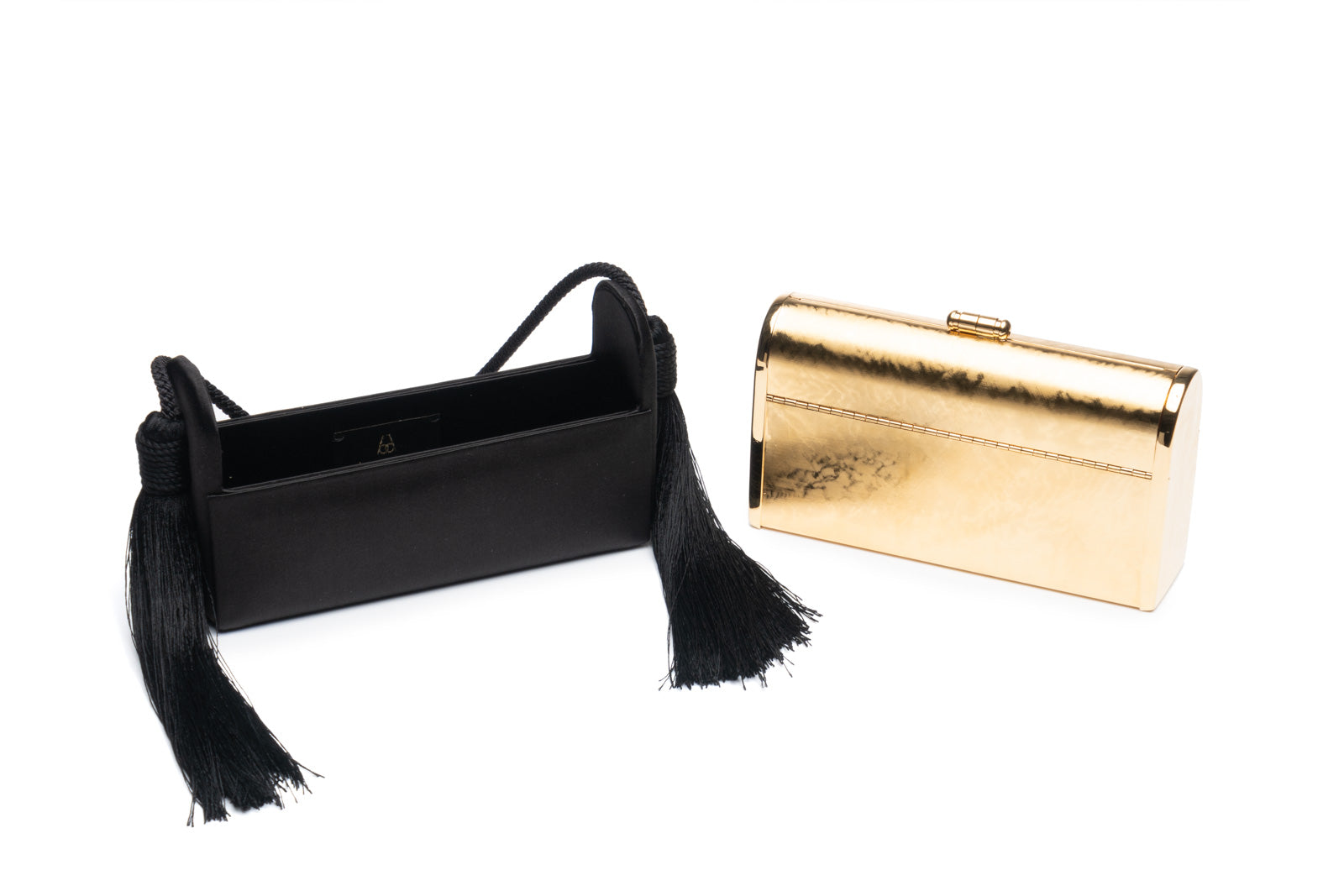 Régine Minaudière with Silk Tassels in Black Satin with 24K Gold Finished Hardware