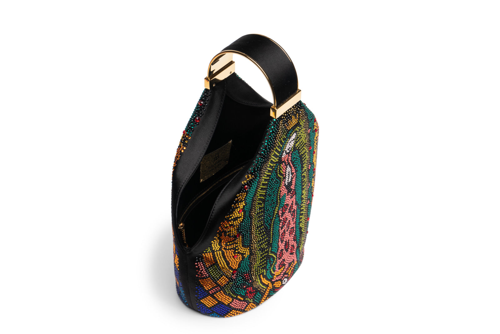 Kit Bracelet Bag in Multicolored Lady of Guadalupe Swarovski Crystals with 24K Gold Dipped Hardware