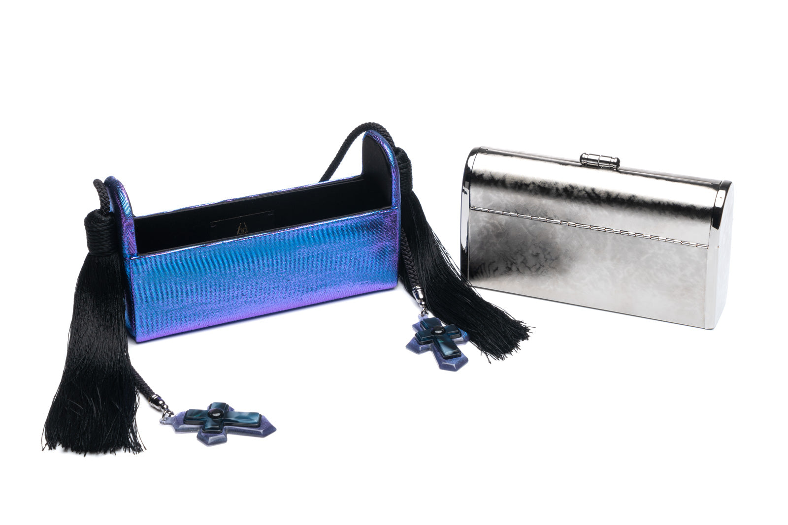 Régine Minaudière with Silk Tassels in Neon Purple Two-toned Lurex with Gunmetal Hardware