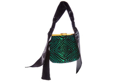 6 AM Tassel Bag in Emerald Green Hypnotique Lurex Chenille