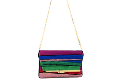 PM Clutch in Halcyon Rainbow Multi Stripe Metallic Lurex Chenille