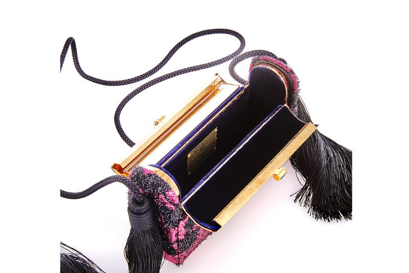 Régine Tassel Minaudière in Rose Cherry Blossom Lurex