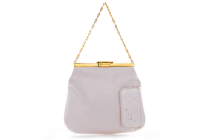 4 AM Bag in Ivory Odyssey Satin and Crystal