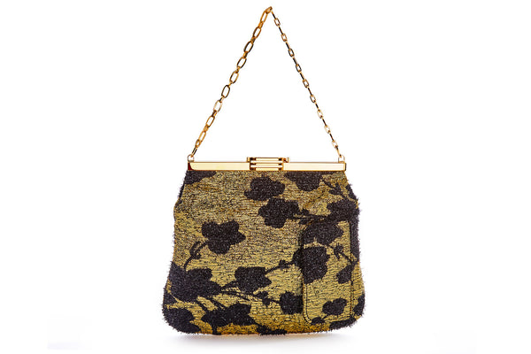 4 AM Bag in Gold and Black Cherry Blossom Metallic Lurex