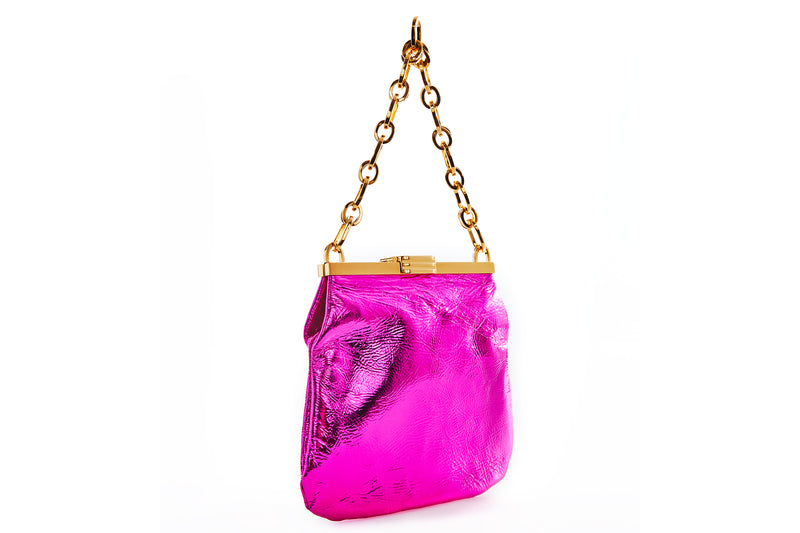 5 AM Bag in Magenta Metallic Leather