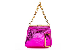 5 AM Bag in Fuchsia Metallic Leather