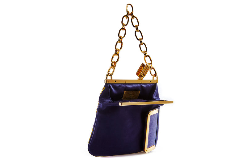 5 AM Bag in LA Rams Gold Crystals and Navy Satin