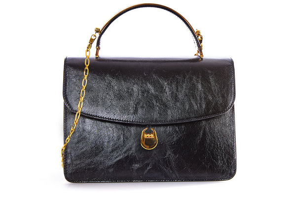 Charlie Top Handle Bag in Black Leather