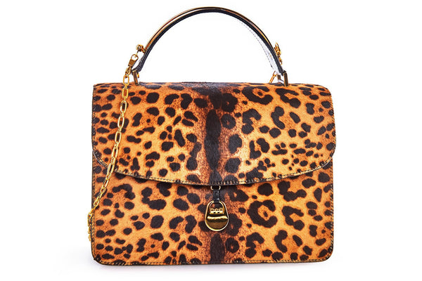 Charlie Top Handle Bag in Leopard Printed Calf Hair