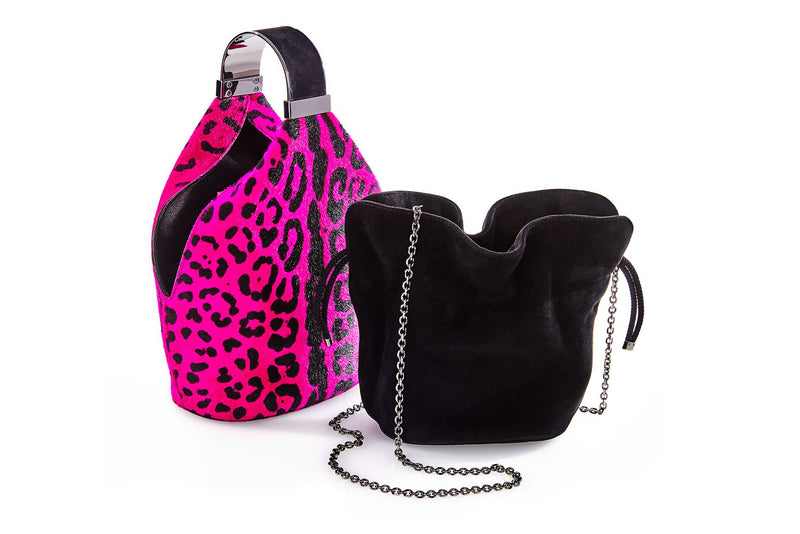 Kit Bracelet Bag in Fuchsia Leopard Printed Calf Hair