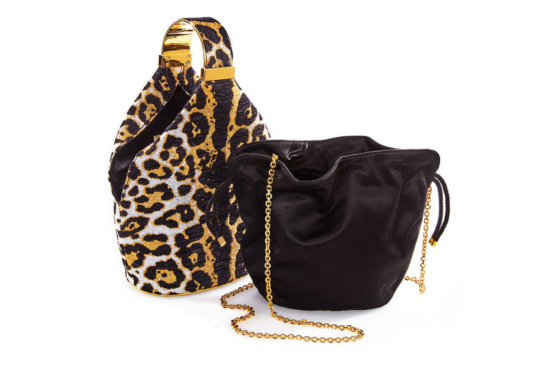 Kit Bracelet Bag in Leopard Metallic Lurex Chenille