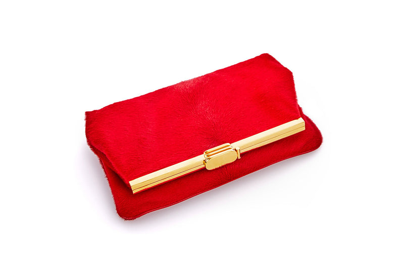 PM Clutch in Red Calf Hair