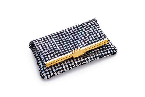 PM Clutch in Area 51 Checkered Holographic Leather
