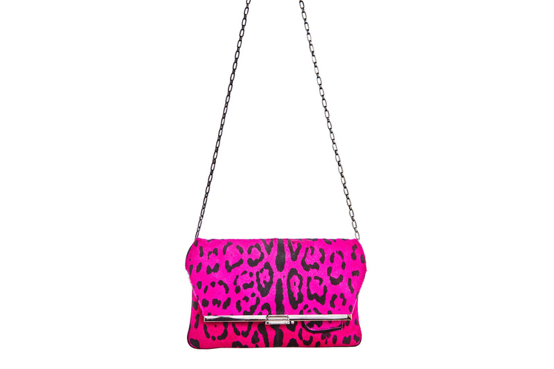 PM Clutch in Fuchsia Leopard Printed Calf Hair