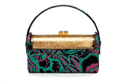 Régine Minaudière in Art Disco Green and Pink Holographic Metallic Lurex Jacquard