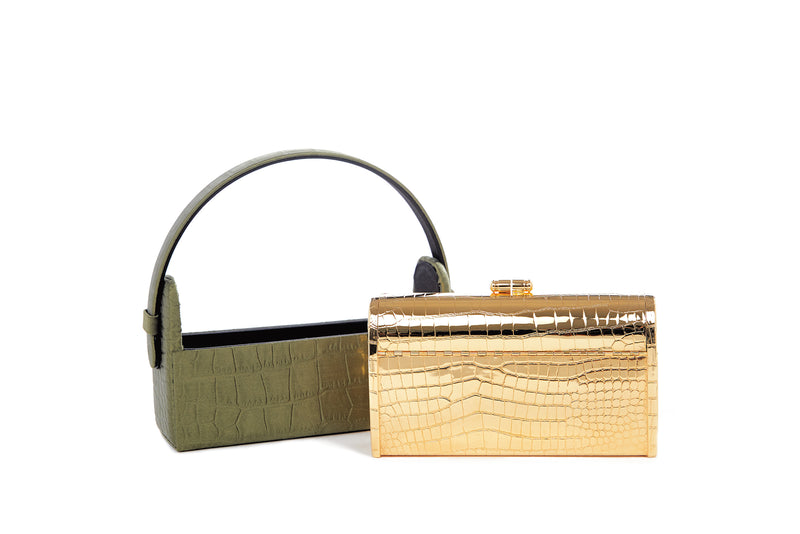 Gold Croco Régine Minaudière with Army Green Crocodile Embossed Satin Case