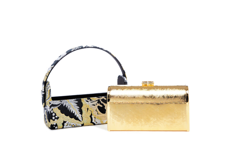 Régine Minaudière in Art Disco Holographic Gold Metallic Lurex Jacquard