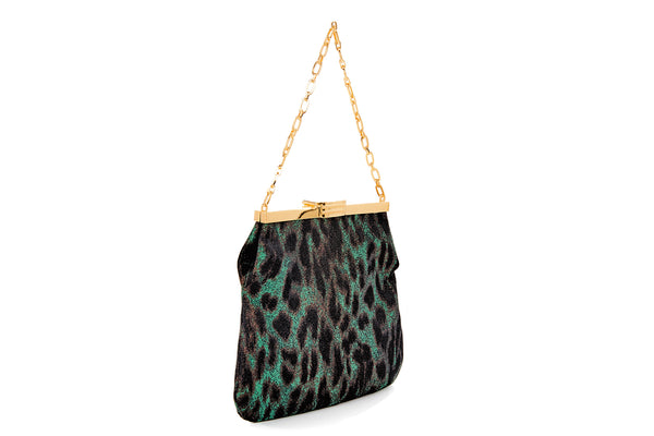 4 AM Bag in Green Leopard Silk Lurex Jacquard