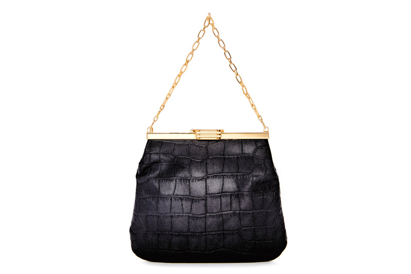 4 AM Bag in Black Crocodile Embossed Satin