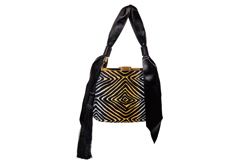 6 AM Tassel Bag in Metallic Hypnotique Lurex Chenille